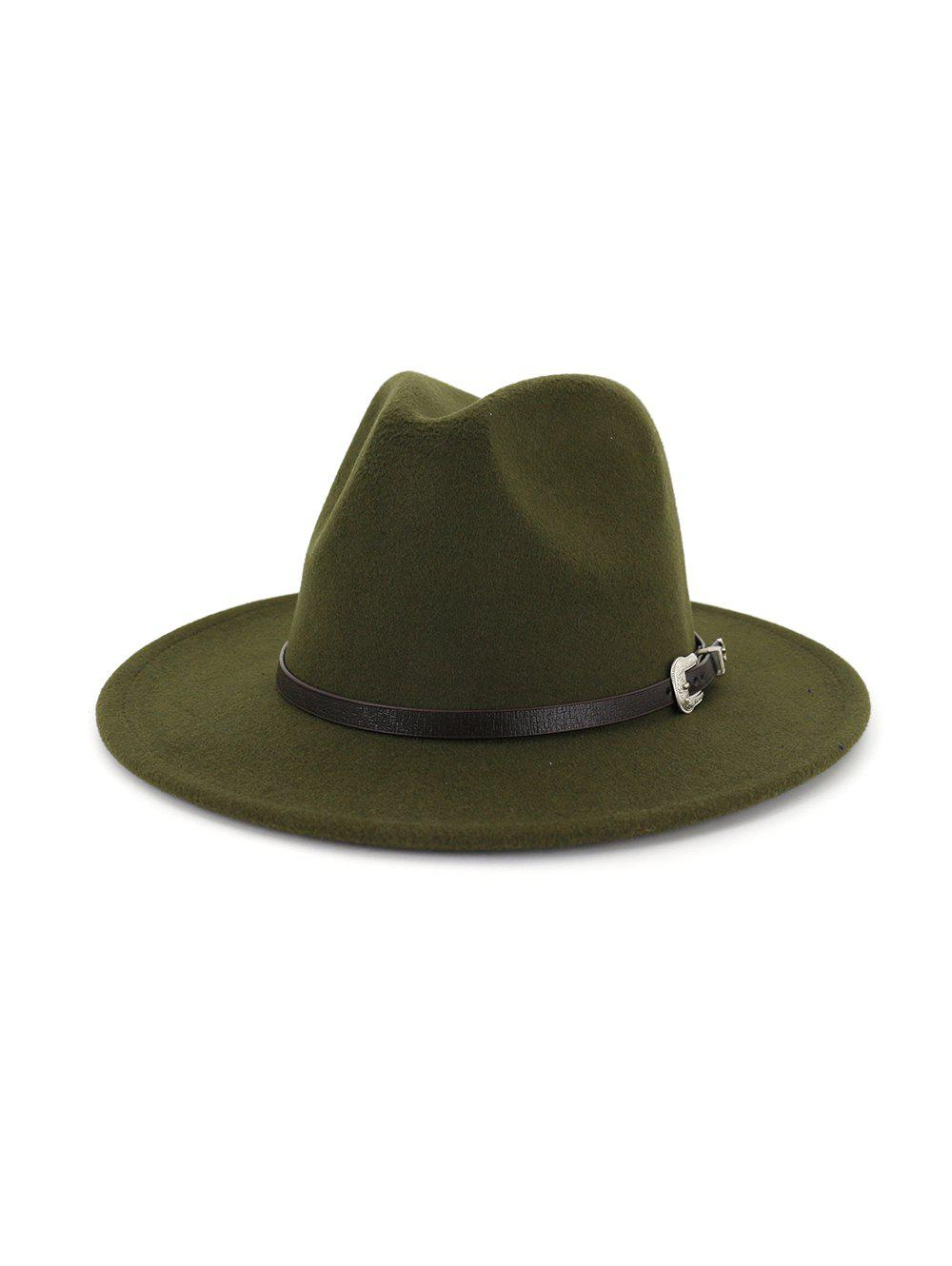 Vintage Embellished Belt Jazz Hat - ARMY GREEN