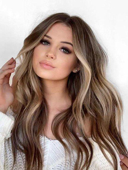 40% OFF] 2020 Long Colormix Middle Part Wavy Capless Synthetic Wig ...