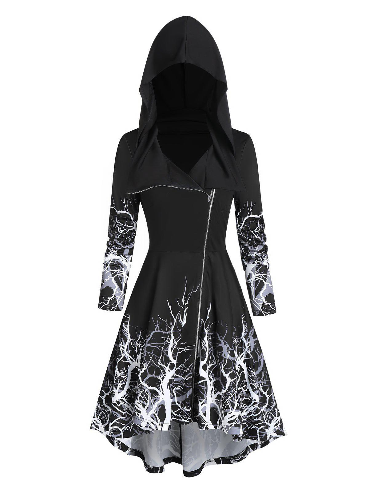 Tree Print High Low Halloween Hooded Coat - BLACK 2XL