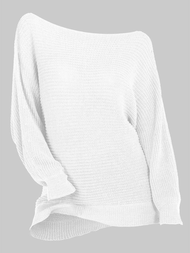 Plus Size Skew Neck Batwing Sleeve Sweater - WHITE L