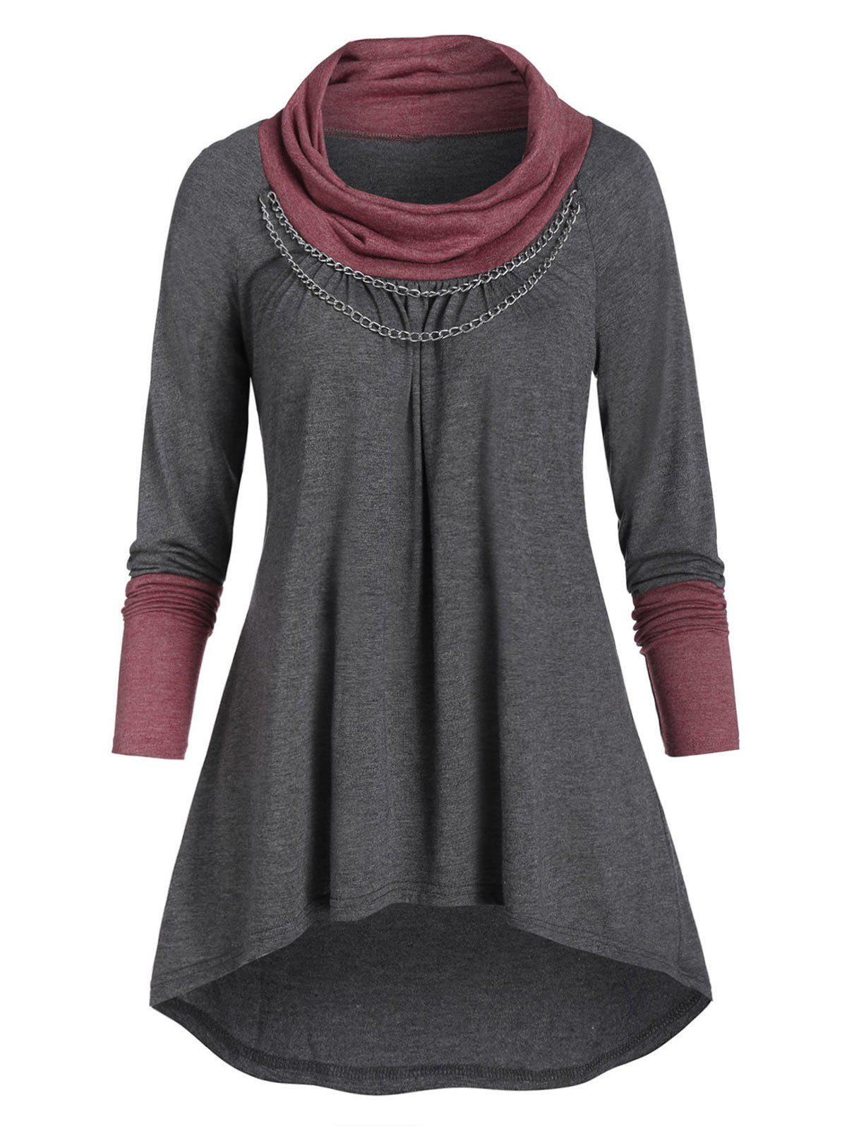 Contrast Heathered Chain Embellished High Low T-shirt - GRAY 2XL