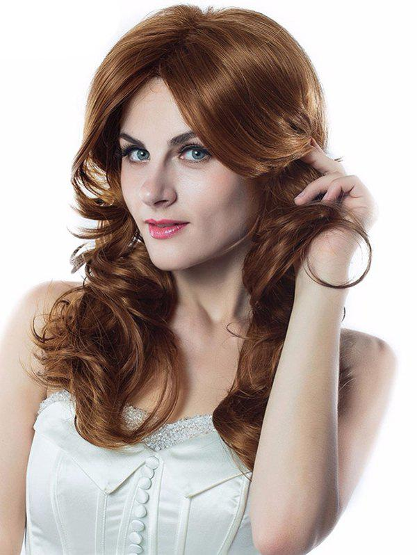 Side Bang Wavy Long Capless Synthetic Wig - LIGHT BROWN 20INCH