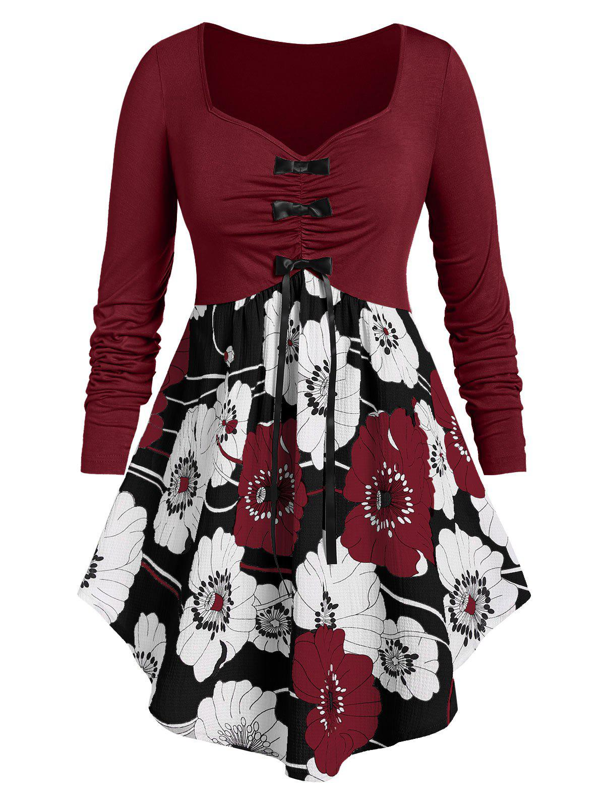 Plus Size Flower Print Bowknot Ruched Long Sleeve Asymmetric Tee - RED WINE 2X