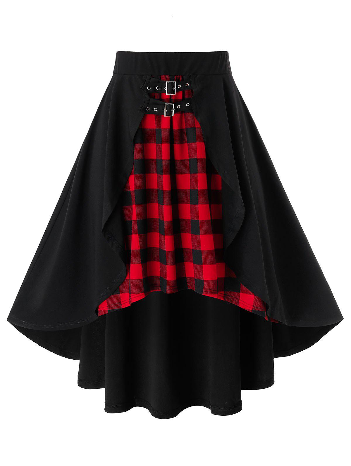 Plus Size Plaid Overlap Buckle Asymmetrical Skirt - BLACK 1X