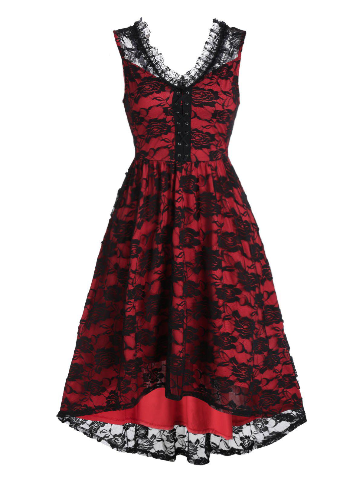 Sleeveless Lace-up High Low Flower Lace Dress - BLACK 3XL