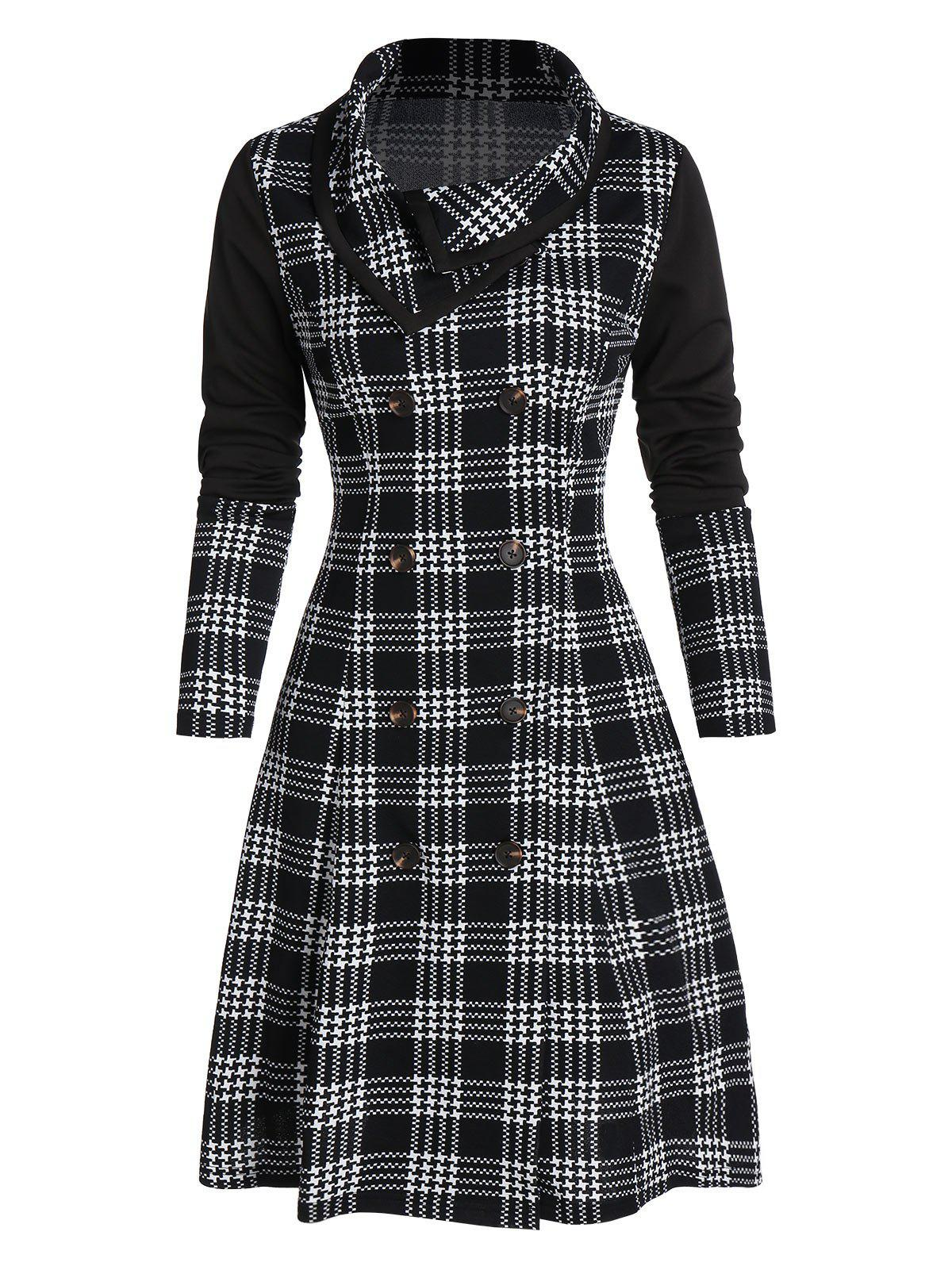 Houndstooth Plaid Print Double Breasted Skirted Coat - BLACK L
