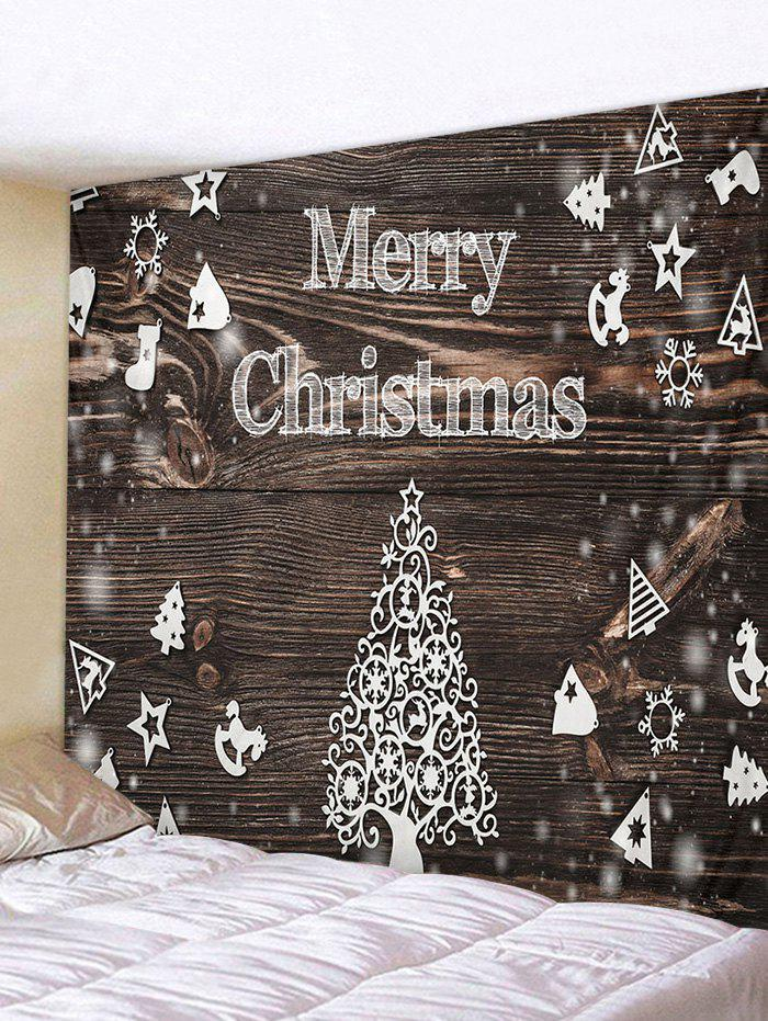 Christmas Tree Wood Grain Print Tapestry Wall Hanging Art Decoration - multicolor W59 X L51 INCH