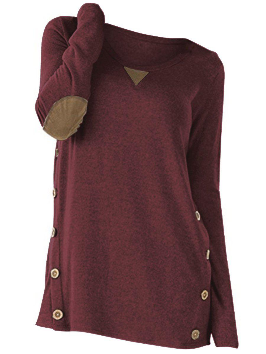 Plus Size Buttons Elbow Patch Heathered T Shirt - CHERRY RED 5X
