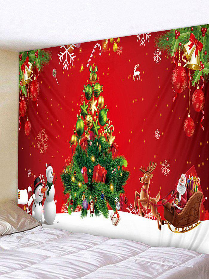 Christmas Tree Gift Snowman Pattern Tapestry - multicolor W79 X L71 INCH