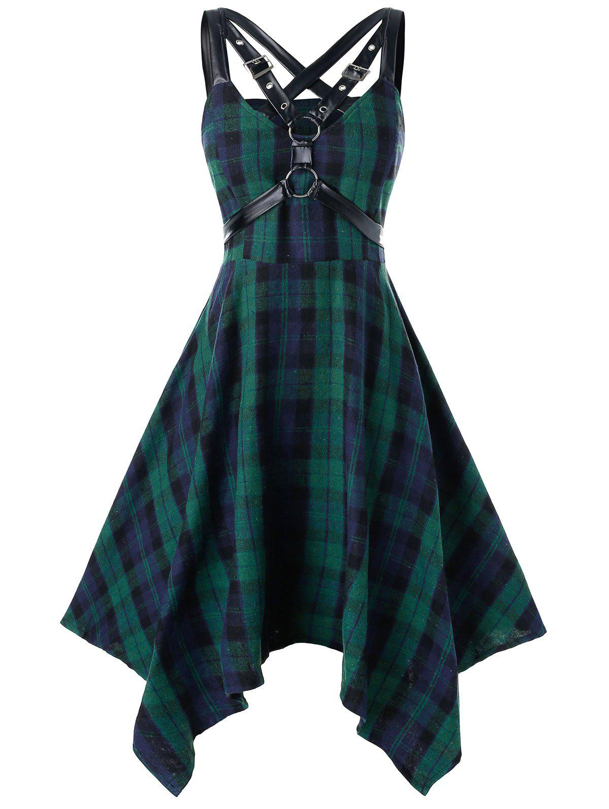 Plus Size Plaid Harness Gothic Hanky Hem Dress - DARK TURQUOISE 2X