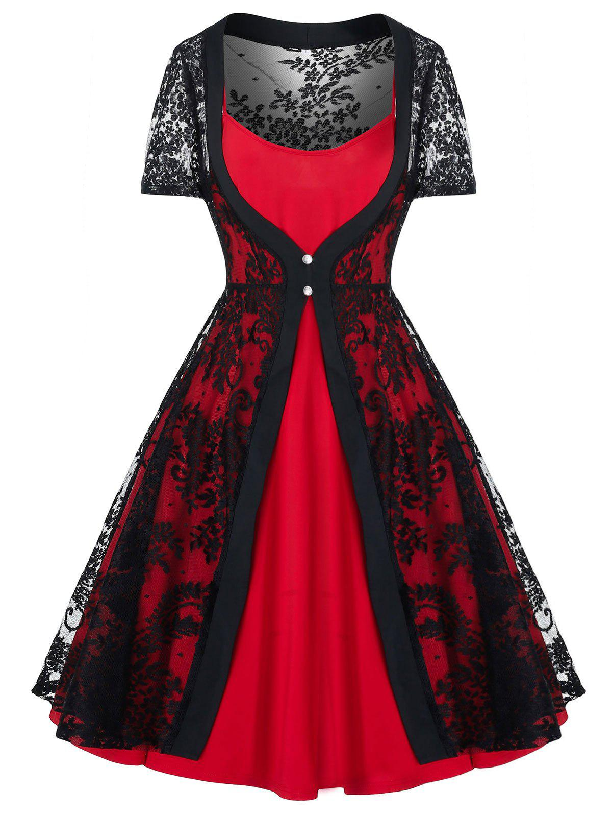 Plus Size Vintage Pin Up Dress With Lace Cardigan Set - RED 2X