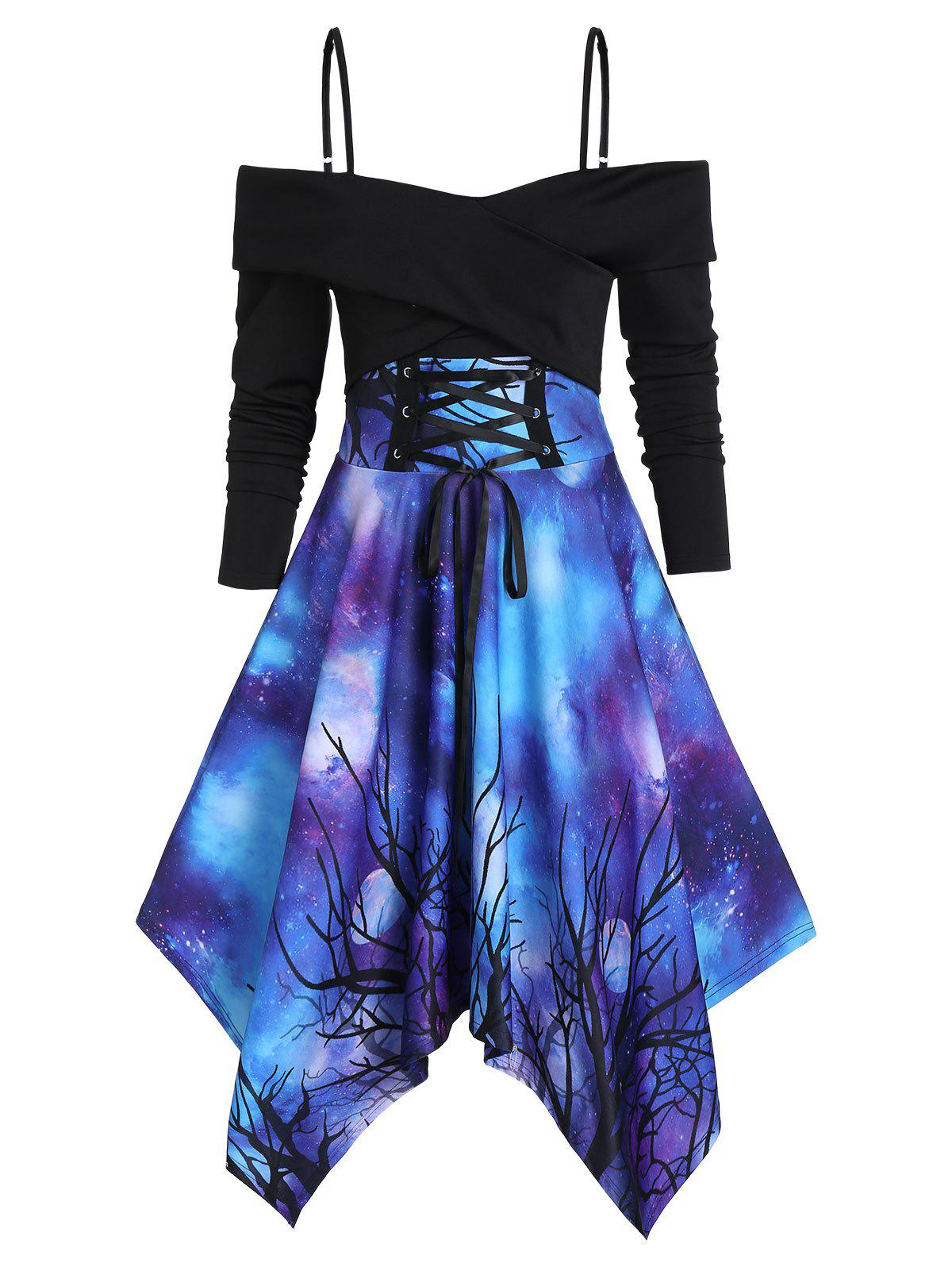 Galaxy Print Open Shoulder Lace-up Crossover Handkerchief Dress - multicolor A L