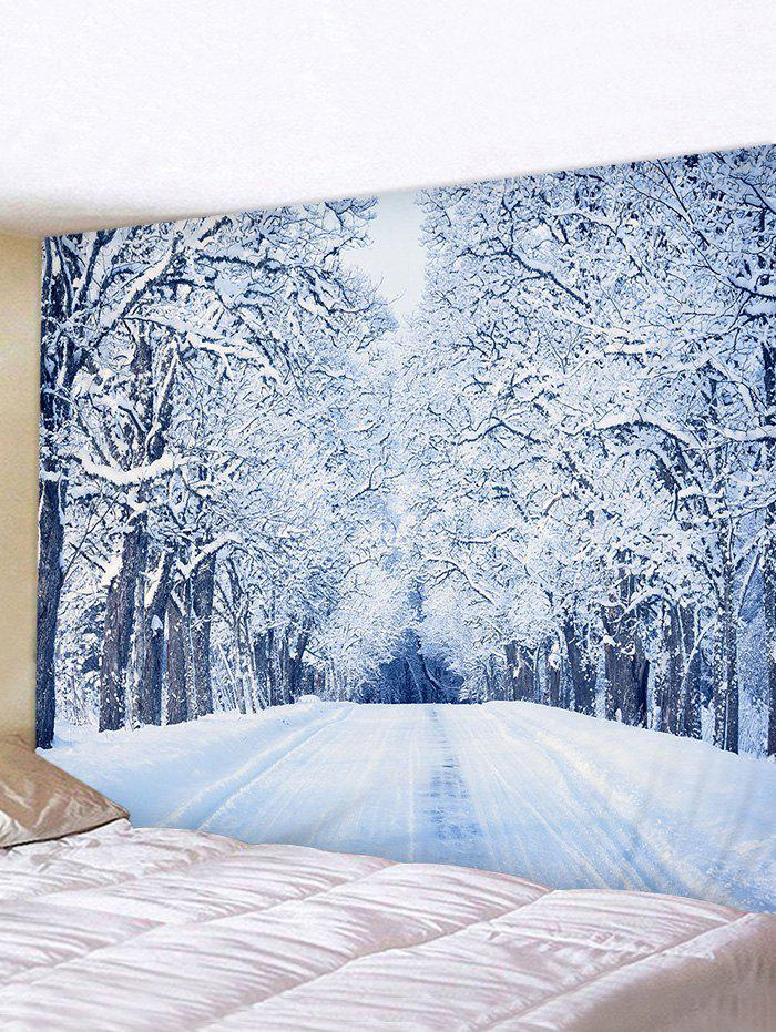 Snow Forest Road Print Tapestry Wall Hanging Art Decoration - multicolor W91 X L71 INCH