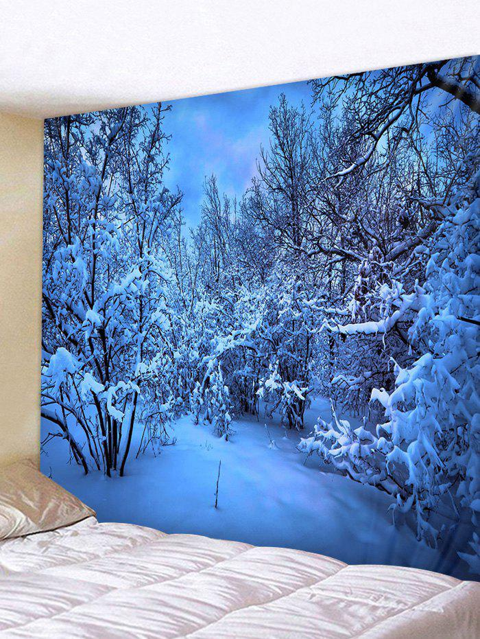 Snow Night Moon Pattern Tapestry - multicolor W59 X L51 INCH
