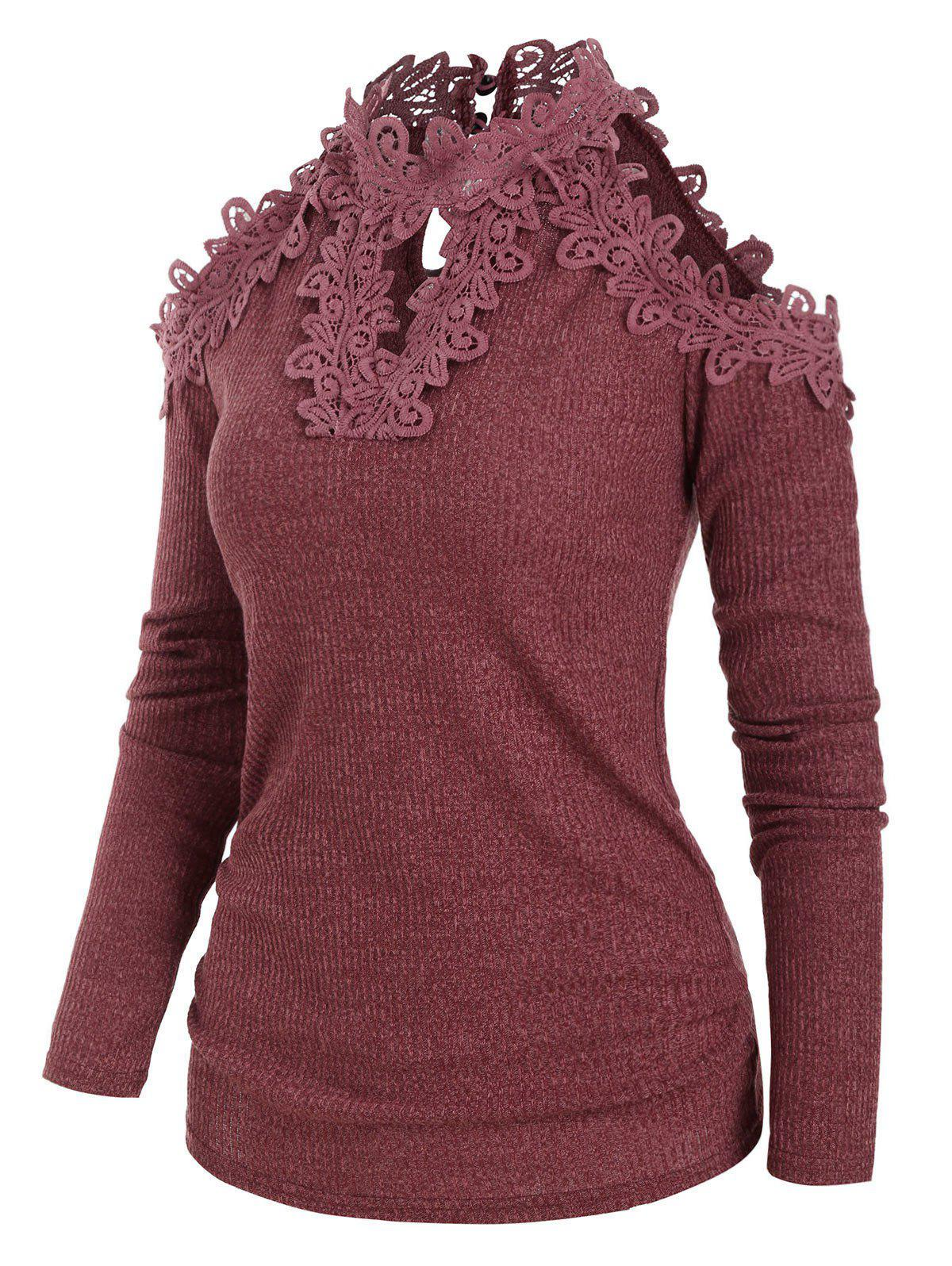 Guipure Lace Cold Shoulder Keyhole Knitwear - CHERRY RED XL