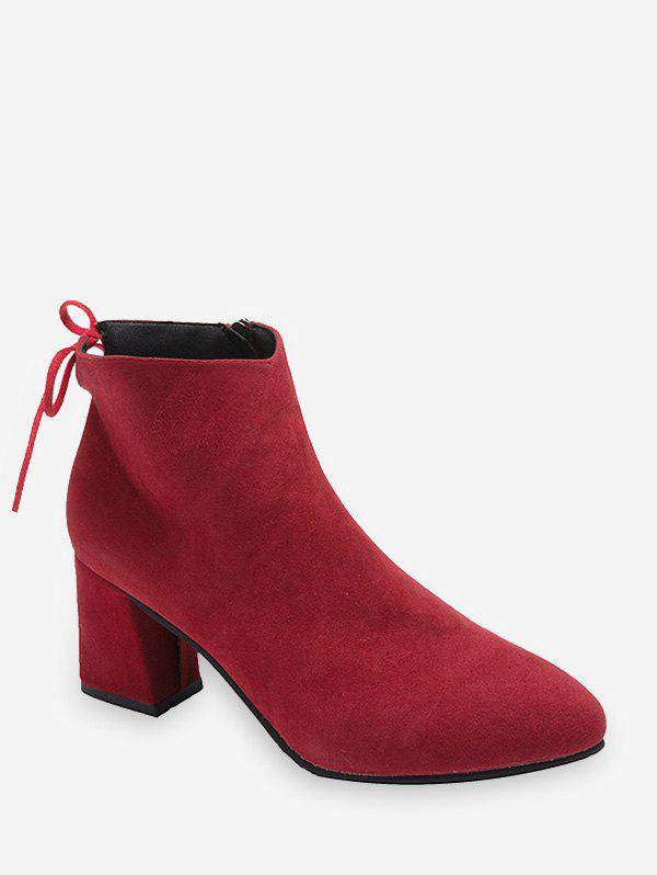 Tie Back Mid Heel Pointed Toe Ankle Boots - RED WINE EU 36