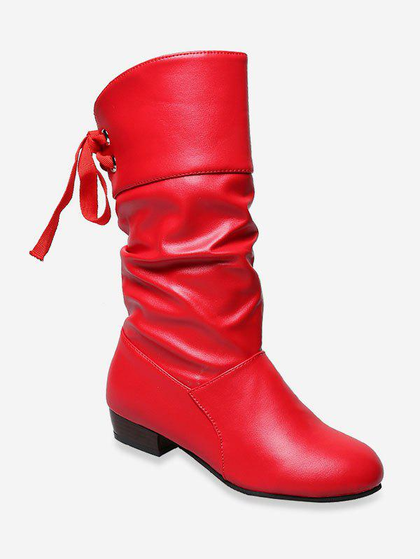 Tie Back PU Leather Mid Calf Boots - RED EU 36