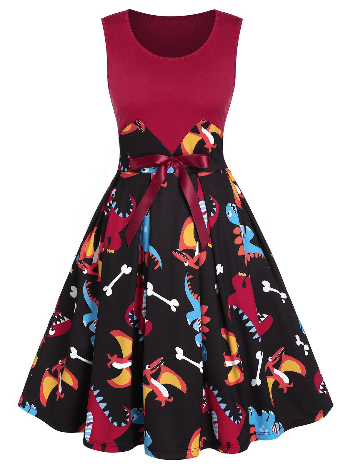 Printed Dinosaur Fit And Flare Dress - BLACK L