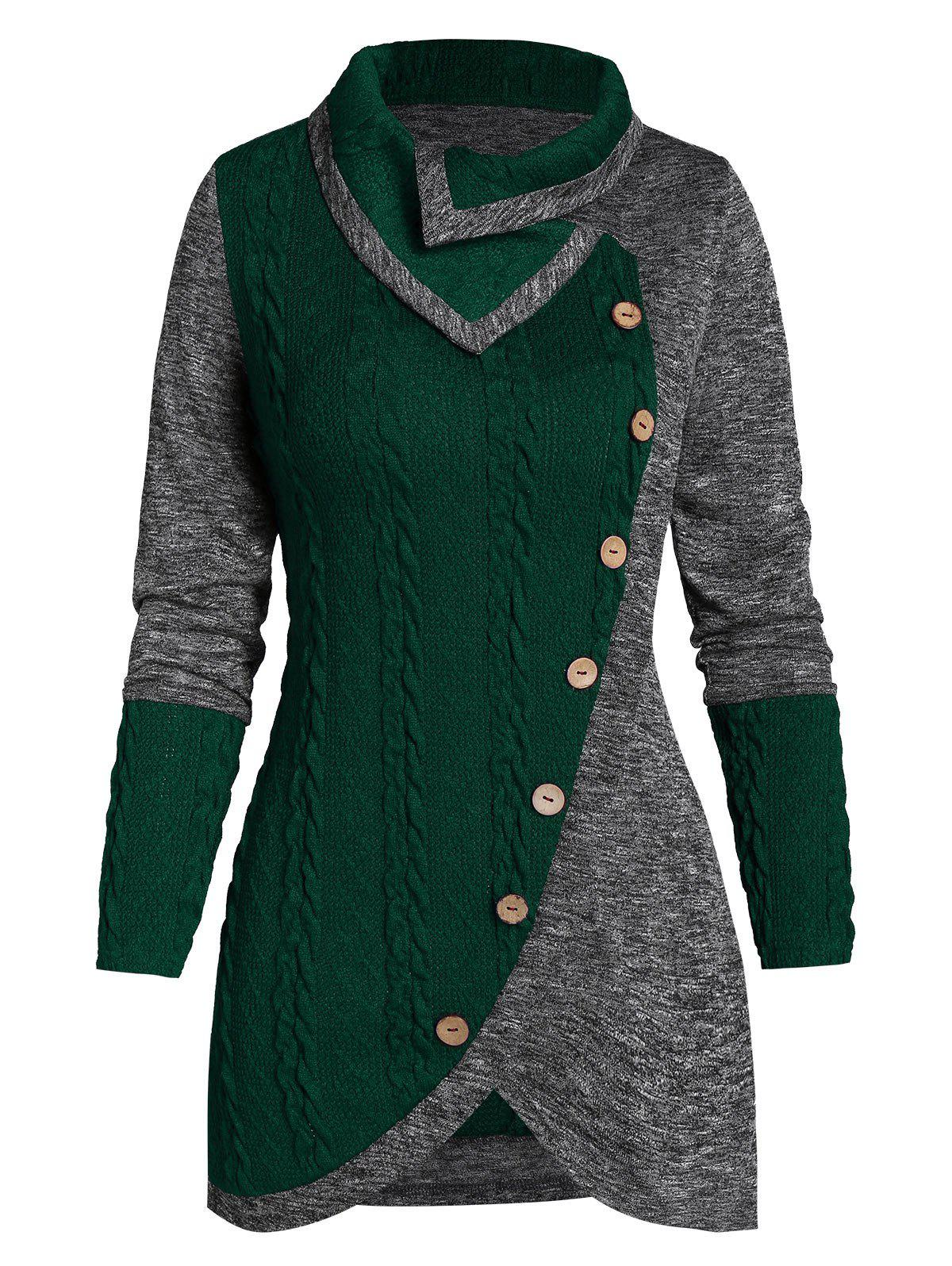 Button Two Tone Turn-down Collar Sweater - DEEP GREEN 3XL