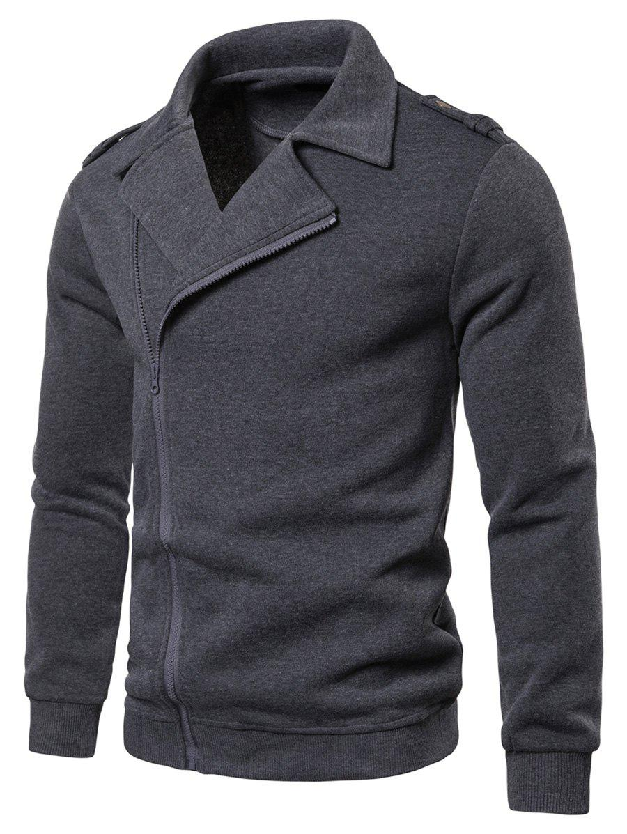 Solid Color Zipper Up Casual Jacket - GRAY M