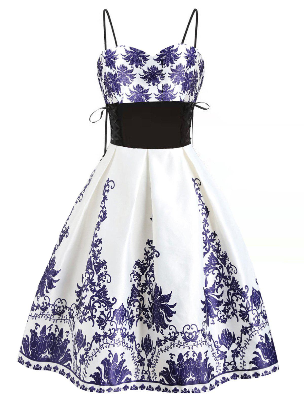 Lace Up Printed Empire Waist Party Dress - WHITE XL