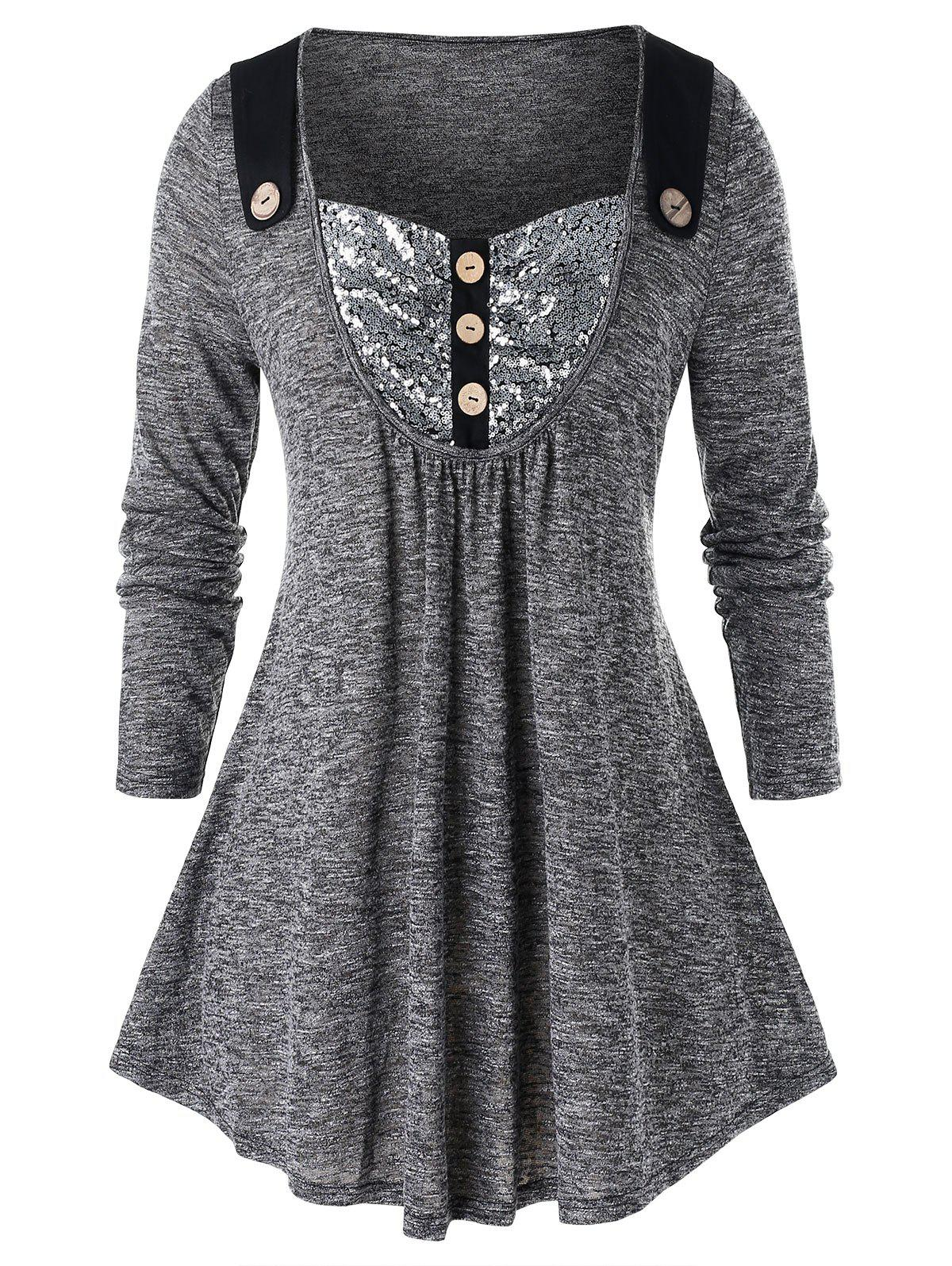 Plus Size Sequined Mock Button Long Sleeve Tee - GRAY 5X