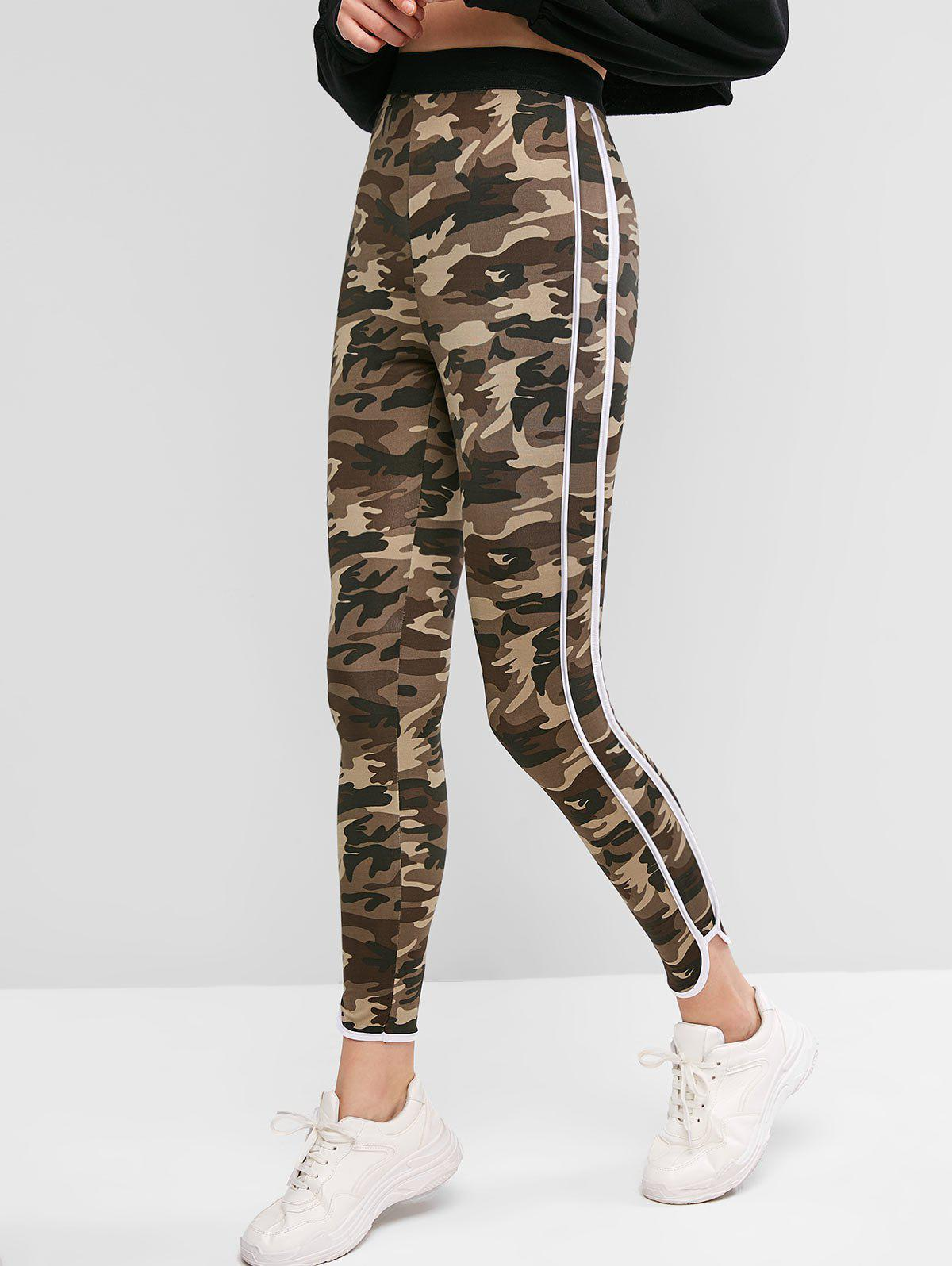 Camouflage Striped Side Fitted Leggings - multicolor XL