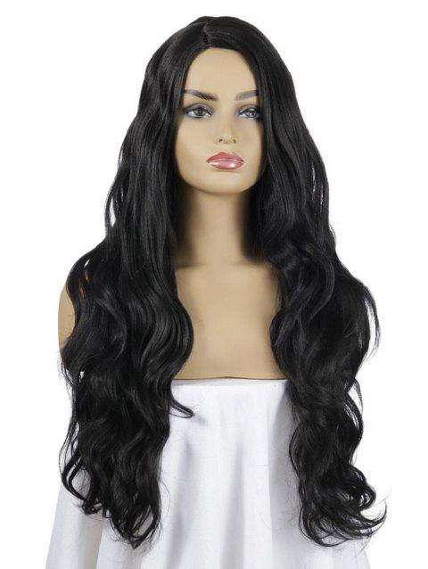 Synthetic Long Wavy Center Part Wig - BLACK