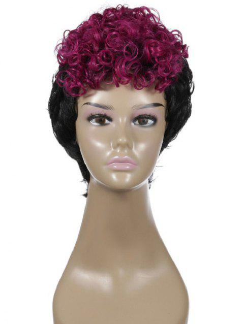 Two Tone Curly Short Synthetic Cosplay Wig - BLACK