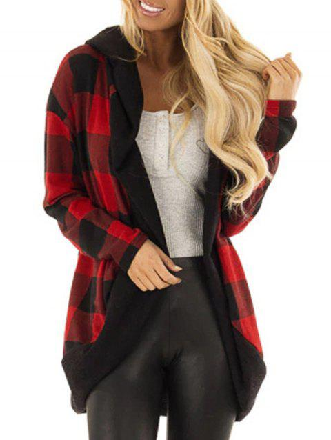 Hooded Plaid Open Cardigan