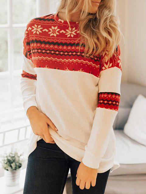 Christmas Graphic Tunic Knitwear - WHITE L