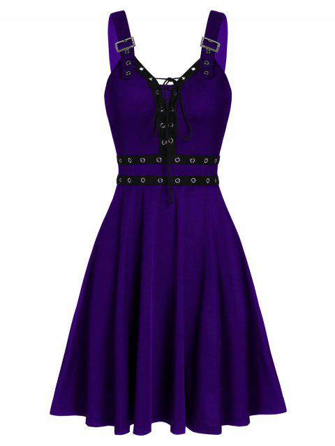 Lace Up Solid Fit And Flare Gothic Dress - PURPLE IRIS XL
