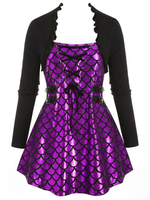 Mermaid Scales Print Flounces Lace Up Buckle Plus Size Top - PURPLE 5X