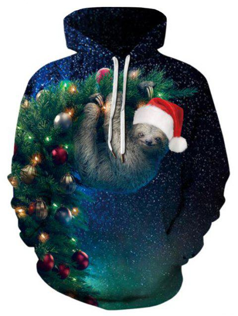 Sloth Print Christmas Tree Front Pocket Drawstring Plus Size Hoodie - DARK FOREST GREEN 5X