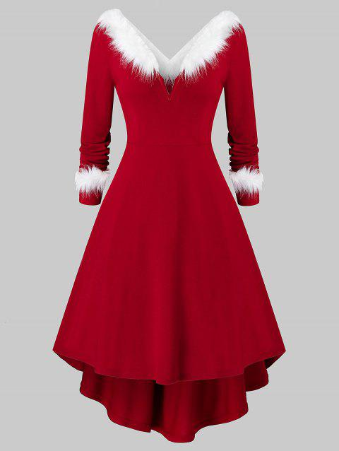 Plus Size Christmas Faux Fur Panel Long Sleeve Knit Dress - RED WINE 2X