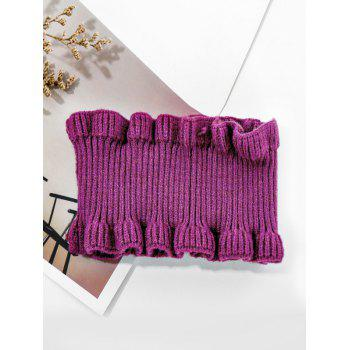 Solid Ruffle Edge Knitted Round Neck Scarf