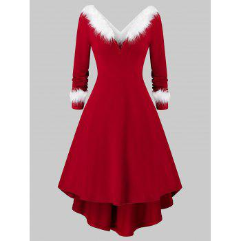 Plus Size Christmas Faux Fur Panel Long Sleeve Knit Dress