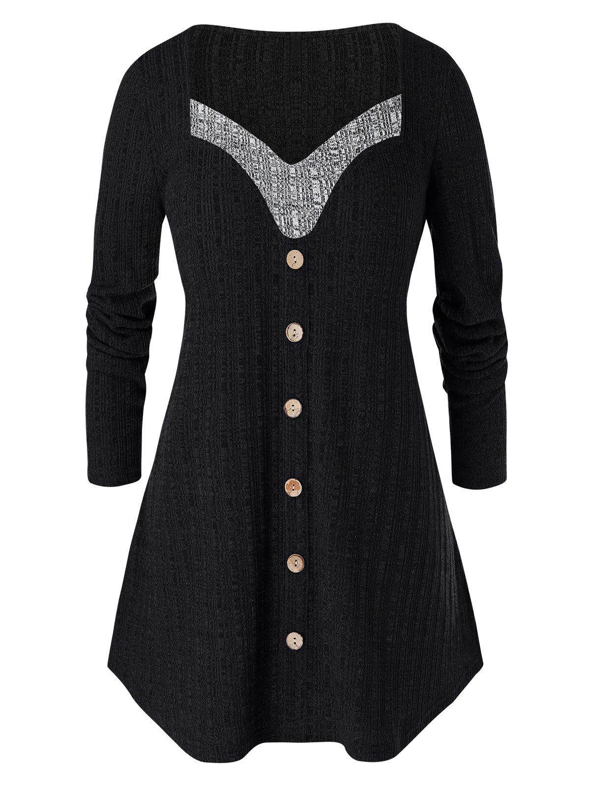 Plus Size Contrast Sweetheart Collar Button Sweater - BLACK 3X