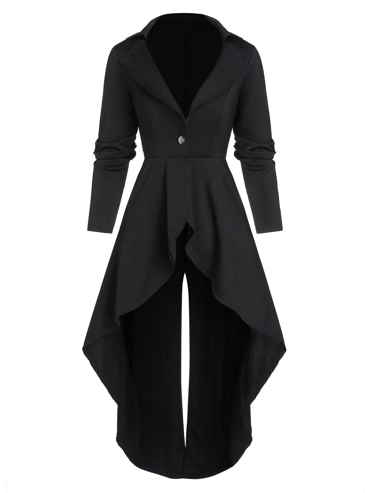 One Button Lace-up Back Slit High Low Skirted Coat - BLACK L