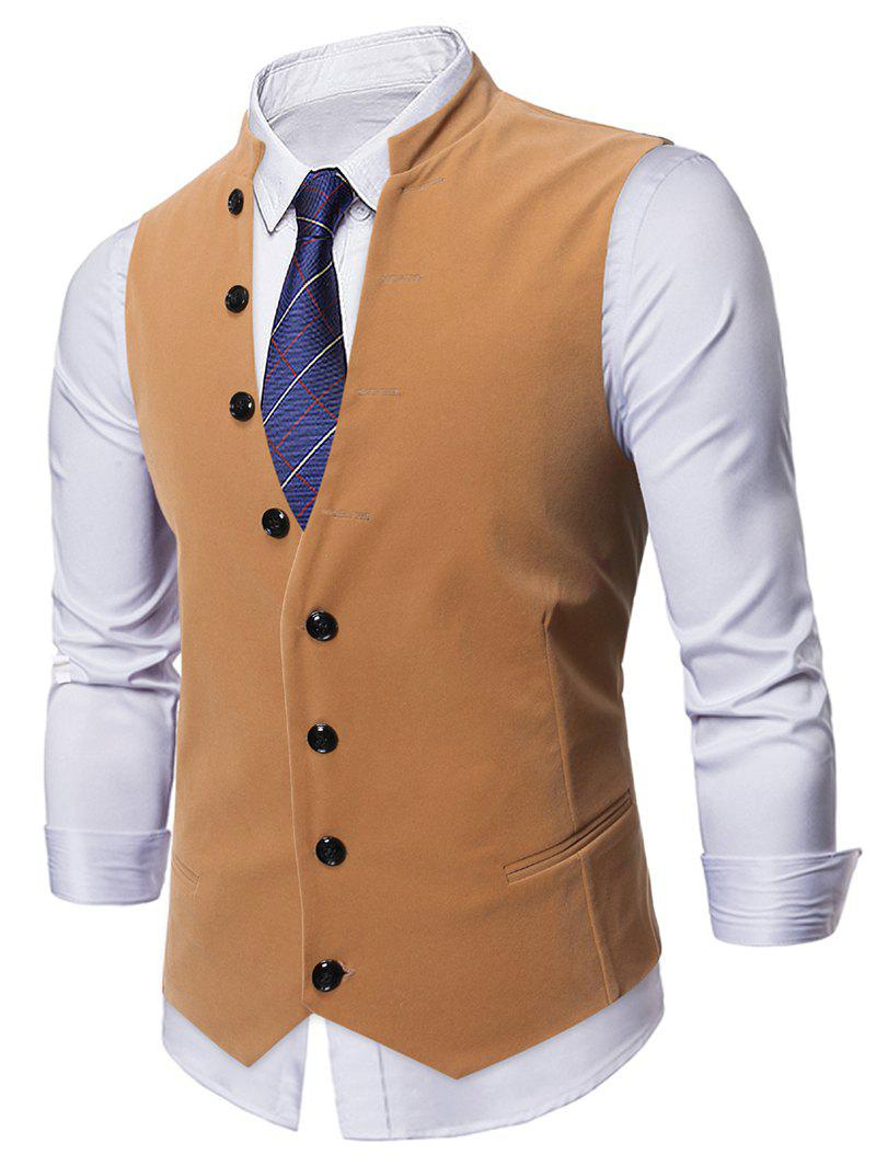 Single-breasted Design Casual Waistcoat - DARK GOLDENROD 2XL