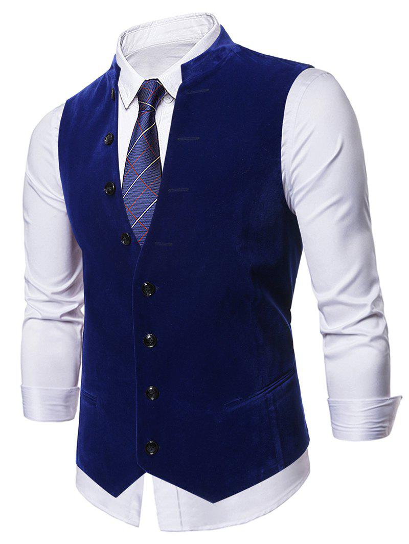 Single-breasted Design Casual Waistcoat - NAVY BLUE M