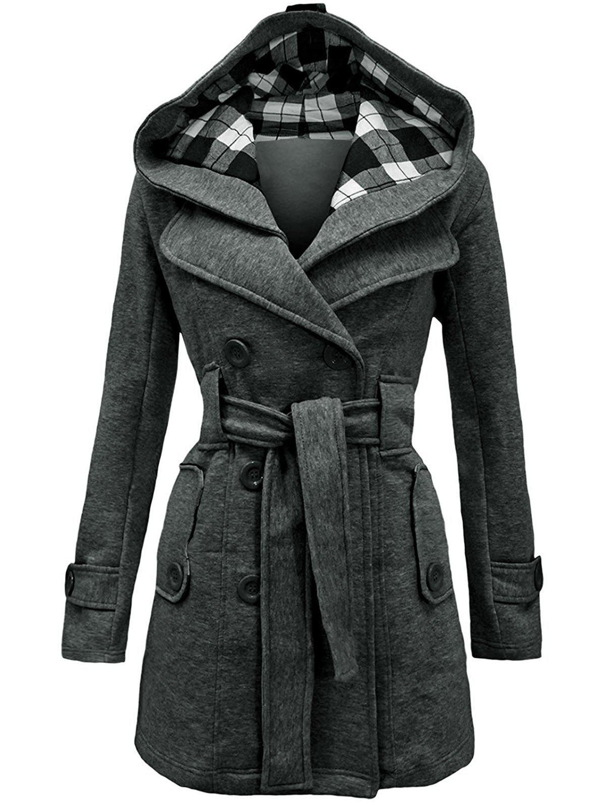 Double Breasted Belted Detachable Hood Plus Size Wool Blend Coat - GRAY 3X