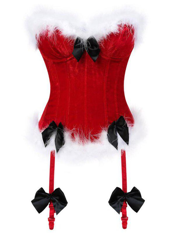 Bowknots Fluffy Velvet Corset with Garters - CHERRY RED 2XL