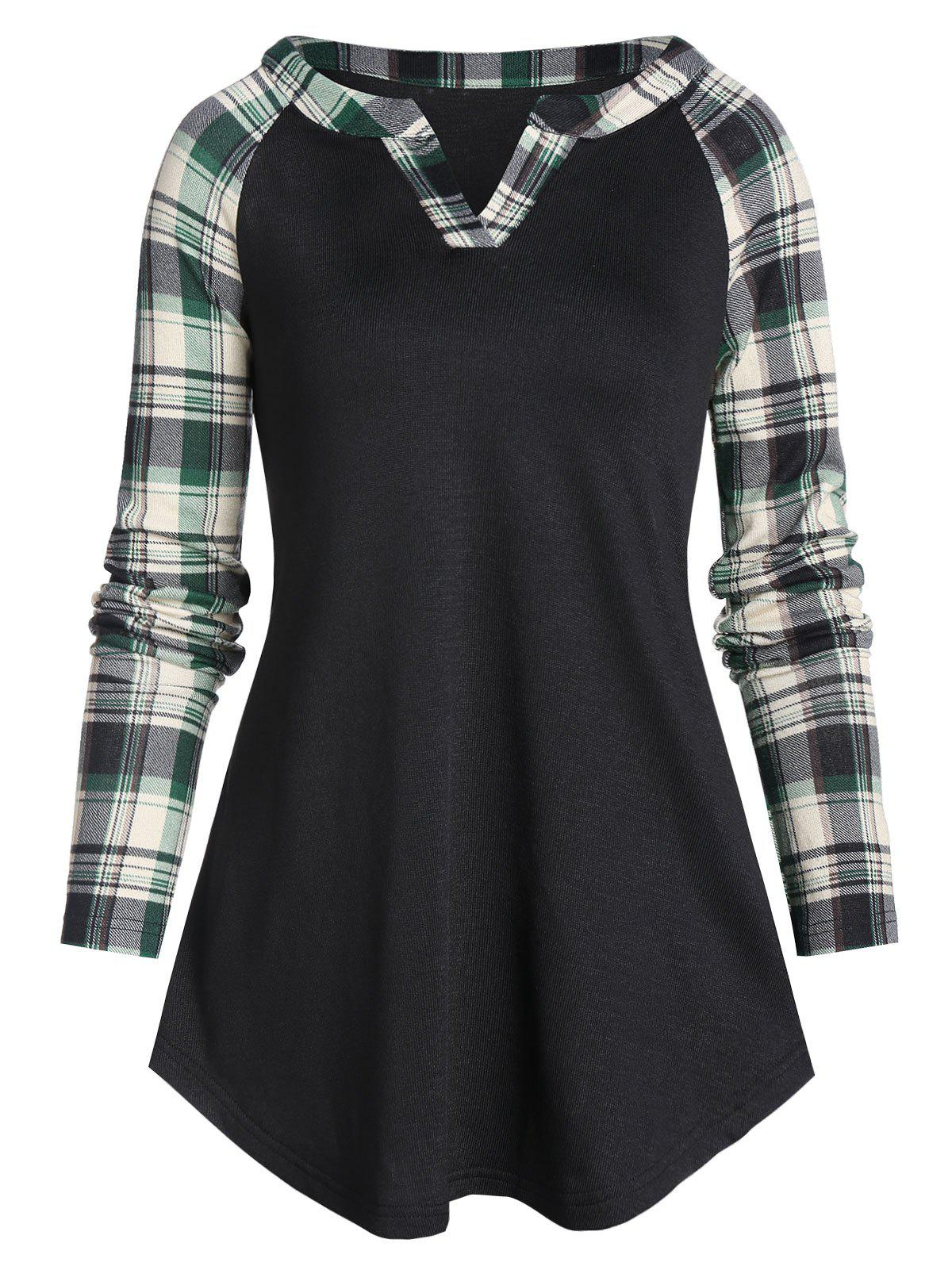 Plaid Print Raglan Sleeve Curved Hem T-shirt - BLACK M