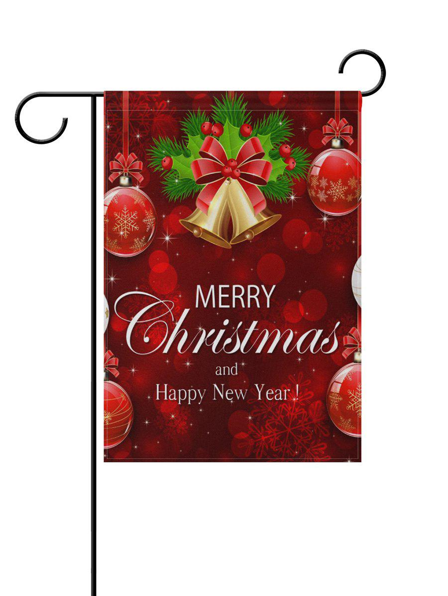 Merry Christmas Bell Double Side Printed Decoration Flag - RED 45*31CM
