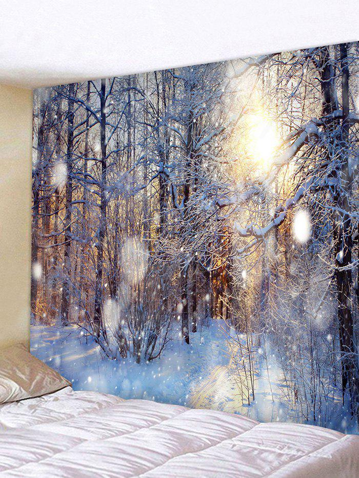 Sunlit Snow Forest Print Tapestry Wall Hanging Art Decoration - multicolor W79 X L59 INCH