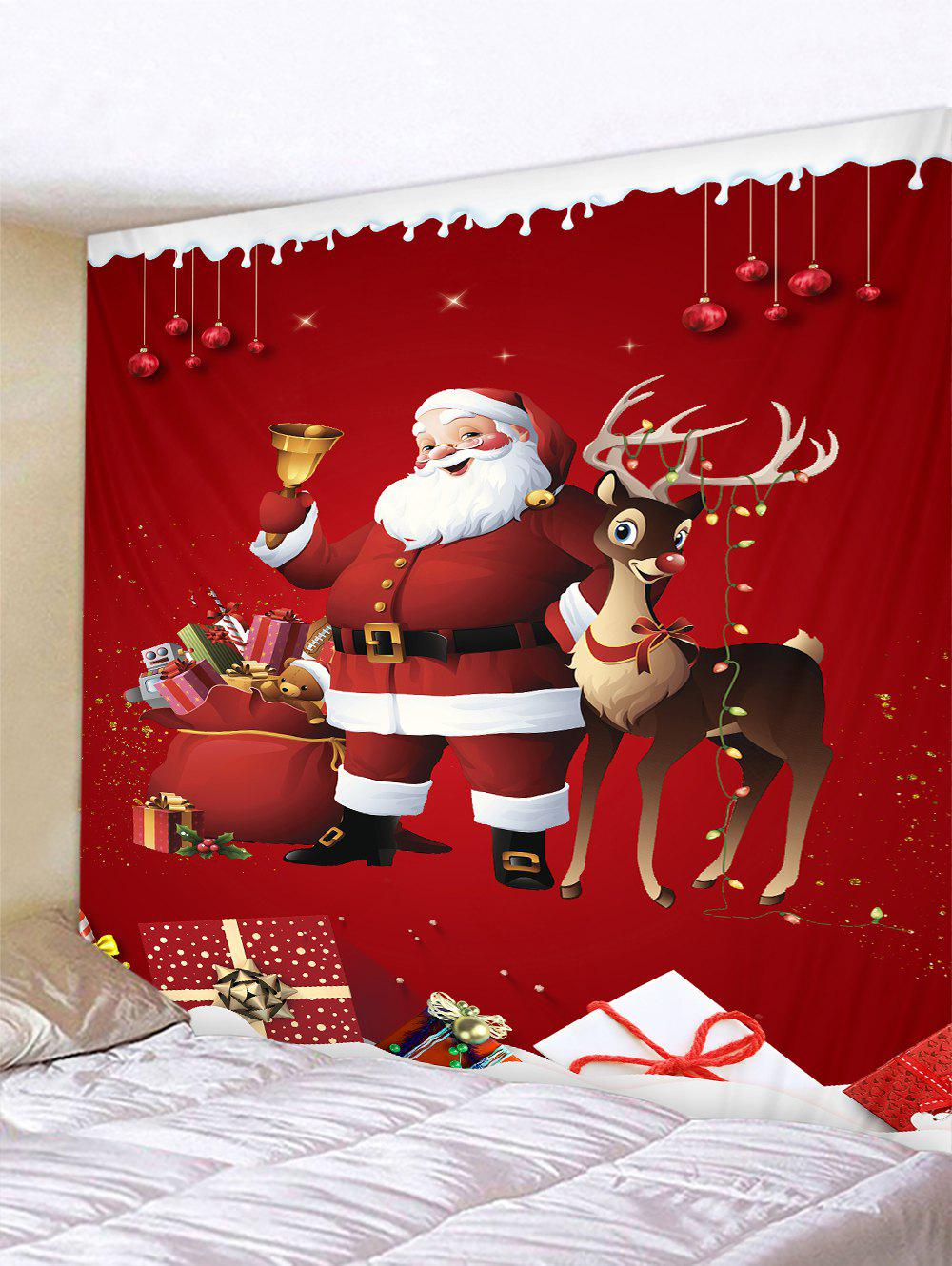Father Christmas Gift Deer Pattern Tapestry - multicolor W91 X L71 INCH