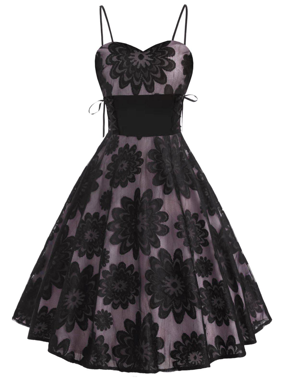 Flower Lace Overlay Lace-up Empire Waist Dress - BLACK L