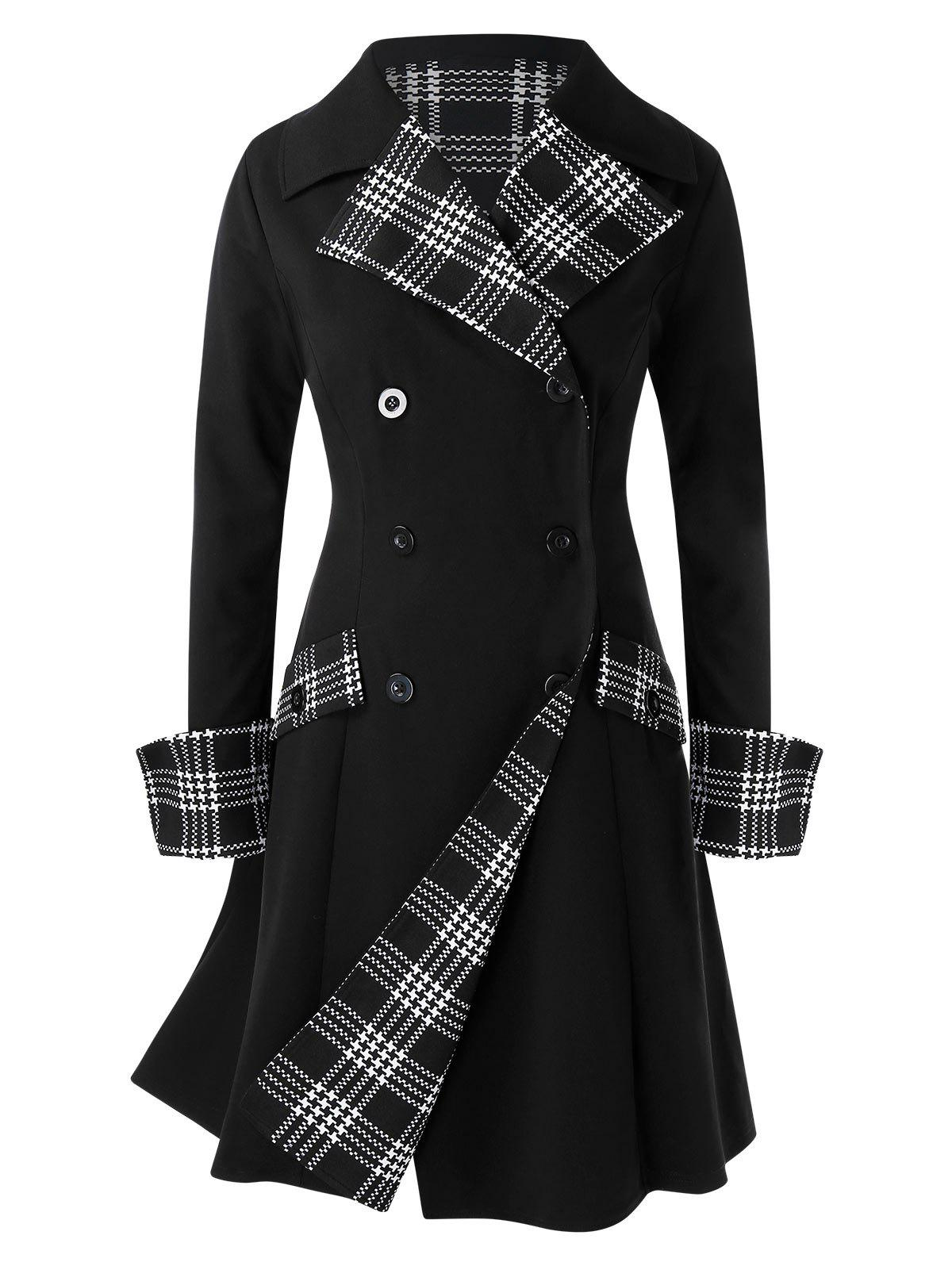 Plus Size Plaid Splicing manteau à double boutonnage - Noir 4X
