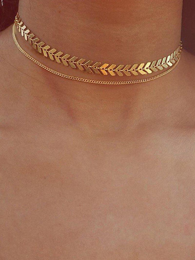 Arrow Chain Double Layer Choker Necklace - GOLD